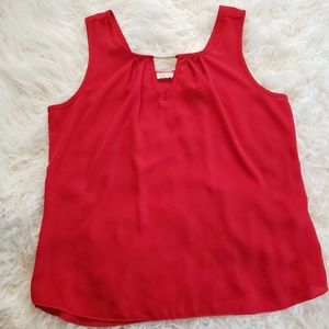 Tops - Red Top with Pleating and Silver Detailing